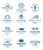 Λογότυπα σχαρών θαλασσινών, ετικέτες και στοιχεία σχεδίου Στοκ Εικόνες
