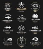 Λογότυπα σχαρών θαλασσινών, ετικέτες και στοιχεία σχεδίου Στοκ Φωτογραφία