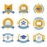 Λογότυπα τριτοβάθμιας εκπαίδευσης καθορισμένα επίσης corel σύρετε το διάνυσμα απεικόνισης Στοκ Εικόνες
