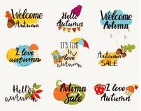 Λογότυπα φθινοπώρου, ετικέττες, ετικέτες Στοκ Εικόνα