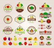 Λογότυπα φρούτων, ετικέτες, εικονίδια φρούτων και στοιχεία σχεδίου Στοκ Εικόνες