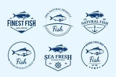 Λογότυπα ψαριών, ετικέτες και στοιχεία σχεδίου διανυσματική απεικόνιση