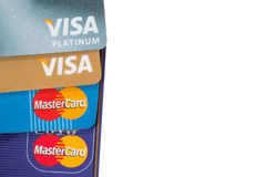Λογότυπα Visa και Mastercard στο άσπρο υπόβαθρο Στοκ φωτογραφίες με δικαίωμα ελεύθερης χρήσης