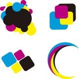 Λογότυπο. Έννοια εκτύπωσης Cmyk Απεικόνιση αποθεμάτων
