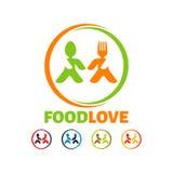 Λογότυπο αγάπης τροφίμων, σύγχρονο δημιουργικό τροφίμων πρότυπο λογότυπων επιχείρησης διανυσματικό Στοκ φωτογραφία με δικαίωμα ελεύθερης χρήσης