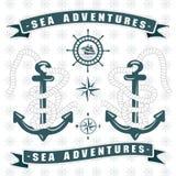 Λογότυπο αγκύρων περιπετειών θάλασσας με το σχοινί γύρω διανυσματική απεικόνιση