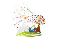 Λογότυπο αναγνωστών βιβλίων, εικονίδιο εκπαίδευσης, konwledge symbo, σχέδιο έννοιας μελέτης διανυσματική απεικόνιση