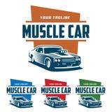 Λογότυπο αυτοκινήτων μυών, αναδρομικό ύφος λογότυπων, εκλεκτής ποιότητας λογότυπο στοκ φωτογραφία