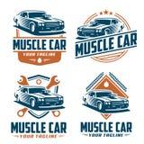 Λογότυπο αυτοκινήτων μυών, αναδρομικό ύφος λογότυπων, εκλεκτής ποιότητας λογότυπο Στοκ Εικόνες