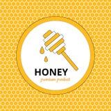 Λογότυπο, αυτοκόλλητη ετικέττα για το εμπορικό σήμα μελιού, μελισσουργείο Στοκ φωτογραφίες με δικαίωμα ελεύθερης χρήσης