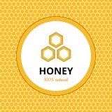 Λογότυπο, αυτοκόλλητη ετικέττα για το εμπορικό σήμα μελιού, μελισσουργείο Στοκ φωτογραφία με δικαίωμα ελεύθερης χρήσης