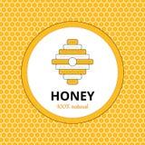 Λογότυπο, αυτοκόλλητη ετικέττα για το εμπορικό σήμα μελιού, μελισσουργείο Στοκ Φωτογραφία