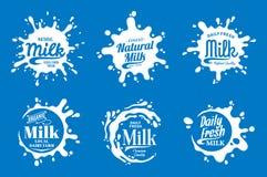 Λογότυπο γάλακτος Παφλασμοί γάλακτος, γιαουρτιού ή κρέμας Στοκ Εικόνες