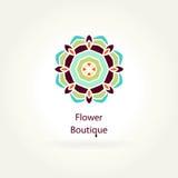 Λογότυπο για το ανθοπωλείο, οργανικά προϊόντα Μπουτίκ λουλουδιών Mandala logotype εικονίδιο Στοκ Εικόνες