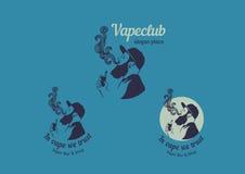 Λογότυπο για το κατάστημα λεσχών ή τα ηλεκτρονικά τσιγάρα, καπνίζοντας άτομα απεικόνιση αποθεμάτων