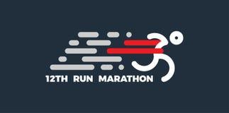 Λογότυπο για το τρέξιμο του μαραθωνίου Δρομέας σκιαγραφιών στη γραμμή τερματισμού Απλό επίπεδο σύμβολο επίσης corel σύρετε το διά διανυσματική απεικόνιση