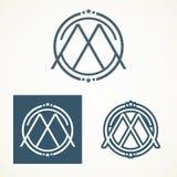 Λογότυπο γραμμάτων Μ με το αναδρομικό σχέδιο στοκ φωτογραφία με δικαίωμα ελεύθερης χρήσης