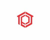 Λογότυπο γραμμάτων π με το εγχώριο εικονίδιο Στοκ Εικόνες