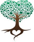 Λογότυπο δέντρων καρδιών ρίζας διανυσματική απεικόνιση