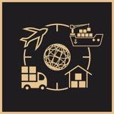Λογότυπο διοικητικών μεριμνών για το παγκόσμιες φορτίο και την αποστολή διανυσματική απεικόνιση