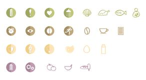 Λογότυπο, εικονίδια ή εικονογράμματα των ιδιοτήτων της υγιούς ζωής, που μένουν κατάλληλων και πλήρων της ενέργειας, που έχει τη κ απεικόνιση αποθεμάτων