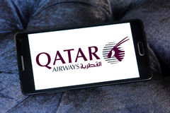 Λογότυπο εναέριων διαδρόμων του Κατάρ Στοκ Φωτογραφία