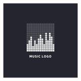 Λογότυπο εξισωτών μουσικής Ακουστικό ηλεκτρονικό εικονίδιο Στοκ Εικόνες
