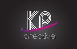Λογότυπο επιστολών της KP Κ Π με το σχέδιο γραμμών και πορφυρό Swoosh διανυσματική απεικόνιση
