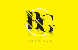 Λογότυπο επιστολών του BG με το εκλεκτής ποιότητας σχέδιο σχεδίων Grundge $cu Στοκ φωτογραφίες με δικαίωμα ελεύθερης χρήσης