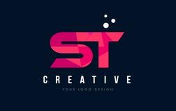 Λογότυπο επιστολών του ST S Τ με την πορφυρή χαμηλή πολυ ρόδινη έννοια τριγώνων απεικόνιση αποθεμάτων