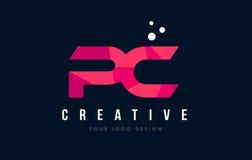 Λογότυπο επιστολών PC Π Γ με την πορφυρή χαμηλή πολυ ρόδινη έννοια τριγώνων διανυσματική απεικόνιση