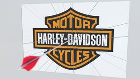 Λογότυπο επιχείρησης της HARLEY-DAVIDSON που ραγίζεται από το βέλος τοξοβολίας Εταιρική εννοιολογική εκδοτική τρισδιάστατη απόδοσ απεικόνιση αποθεμάτων