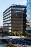 Λογότυπο επιχείρησης της Microsoft στην οικοδόμηση έδρας Στοκ Εικόνα