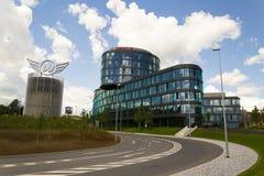 Λογότυπο επιχείρησης της Oracle στην έδρα που χτίζει στις 18 Ιουνίου 2016 μέσα την Πράγα, Τσεχία Στοκ φωτογραφίες με δικαίωμα ελεύθερης χρήσης