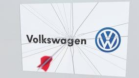 Λογότυπο επιχείρησης του VOLKSWAGEN που ραγίζεται από το βέλος τοξοβολίας Εταιρική εννοιολογική εκδοτική ζωτικότητα προβλημάτων διανυσματική απεικόνιση