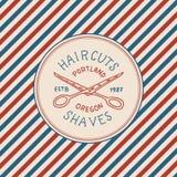 Λογότυπο ετικετών διακριτικών Barbershop Έμβλημα Πολωνού Ψαλίδι για το κούρεμα πινακίδων της γενειάδας και mustache χαραγμένο χέρ απεικόνιση αποθεμάτων