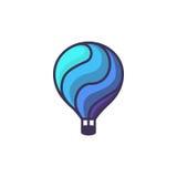 Λογότυπο ζεστού αέρα baloon Απεικόνιση κινούμενων σχεδίων του διανυσματικού εικονιδίου ζεστού αέρα baloon για το σχέδιο Ιστού ή τ Στοκ Εικόνες