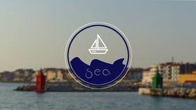 Λογότυπο θάλασσας με ένα καταπληκτικό υπόβαθρο παραλιών Στοκ Φωτογραφία