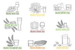Λογότυπο, διακριτικό για τα οινοπνευματώδη ποτά Ποτό, κοκτέιλ, ποτά vec απεικόνιση αποθεμάτων