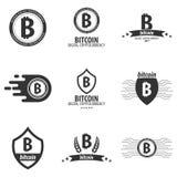 Λογότυπο και έμβλημα Bitcoin Ψηφιακό Cryptocurrency Έμβλημα Techology Στοκ εικόνα με δικαίωμα ελεύθερης χρήσης