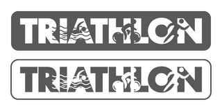 Λογότυπο και εικονίδιο Triathlon Κολύμβηση, ανακύκλωση, τρέχοντας σύμβολα Στοκ Εικόνες