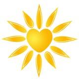 Λογότυπο καρδιών ήλιων Στοκ Εικόνες