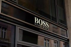 Λογότυπο καταστημάτων της Hugo Boss στη Φρανκφούρτη στοκ εικόνες