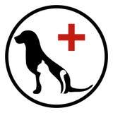 Λογότυπο κλινικών της Pet με το σκυλί, γάτα με το διαγώνιο σύμβολο Στοκ Φωτογραφίες