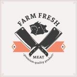 Λογότυπο κρεοπωλείων, πρότυπο ετικετών κρέατος Στοκ Φωτογραφία