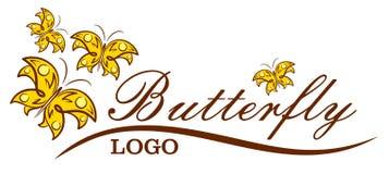 Λογότυπο με τις πεταλούδες Στοκ φωτογραφία με δικαίωμα ελεύθερης χρήσης