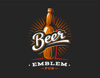 Λογότυπο μπουκαλιών μπύρας, έμβλημα στο σκοτεινό υπόβαθρο ελεύθερη απεικόνιση δικαιώματος