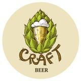 Λογότυπο μπύρας τεχνών, γράφοντας διανυσματικός λυκίσκος απεικόνισης, σχέδιο εμβλημάτων απεικόνιση αποθεμάτων
