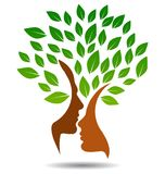 Λογότυπο οικογενειακών δέντρων με τα πρόσωπα σχεδιαγράμματος απεικόνιση αποθεμάτων