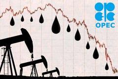 Λογότυπο ΟΠΕΚ, πτώσεις πετρελαίου και βιομηχανικός γρύλος αντλιών πετρελαίου σκιαγραφιών Στοκ Εικόνες